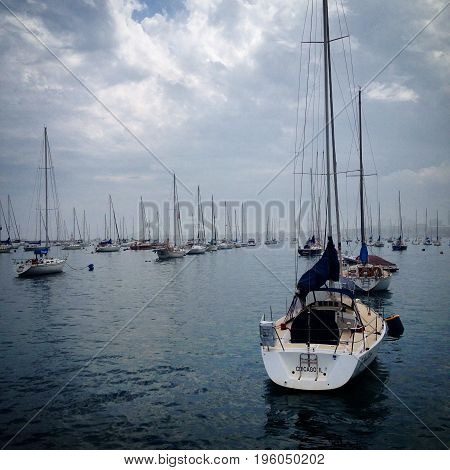 Docked Sailboats at Lake Michigan in Chicago