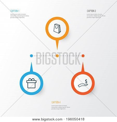 Ecommerce Icons Set. Collection Of Handbag, Rich, Present Elements