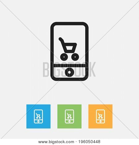 Vector Illustration Of Business Symbol On E-Commerce Outline