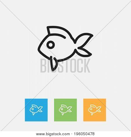 Vector Illustration Of Animal Symbol On Fish Outline