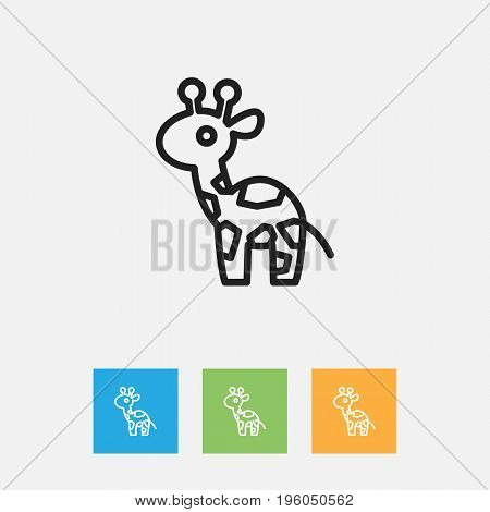 Vector Illustration Of Zoology Symbol On Camelopard Outline