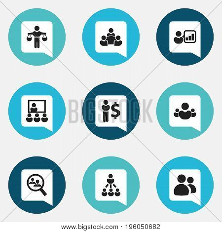 Set Of 9 Editable Community Icons. Includes Symbols Such As Publicity, Teamwork, Leadership And More