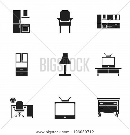 Set Of 9 Editable Interior Icons. Includes Symbols Such As Glim, Cuisine, Stool And More