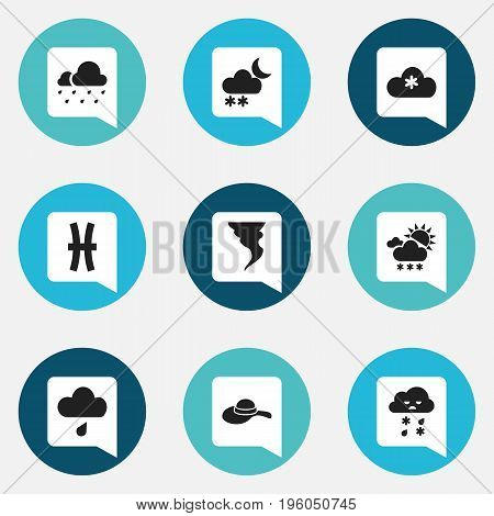 Set Of 9 Editable Air Icons. Includes Symbols Such As Rainy Cloud, Snowy Sky, Frosty And More