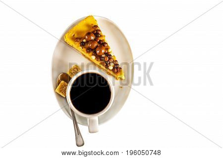 Aromatic Black Coffee In White Cup With Cheesecake On White Saucer, Brown Sugar, Teaspoon, White Bac