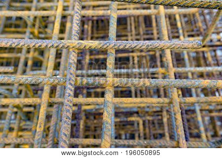 Rusty Rebar on construction site in Germany