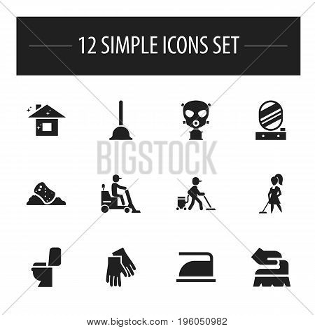 Set Of 12 Editable Cleaning Icons. Includes Symbols Such As Rubber Gloves, Flooring, Rubber Drain And More