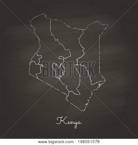 Kenya Region Map: Hand Drawn With White Chalk On School Blackboard Texture. Detailed Map Of Kenya Re