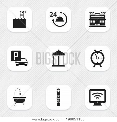 Set Of 9 Editable Hotel Icons. Includes Symbols Such As Reception, Shower, Residence And More
