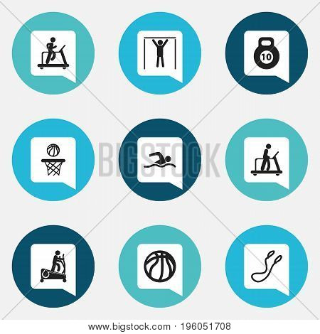 Set Of 9 Editable Fitness Icons. Includes Symbols Such As Jogging, Executing Running, Training Pool And More