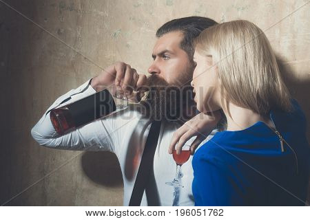 Couple In Love With Alcoholic Drinks