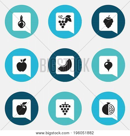 Set Of 9 Editable Fruits Icons. Includes Symbols Such As Turnip, Garnet, Cluster And More
