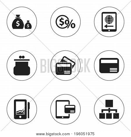 Set Of 9 Editable Banking Icons. Includes Symbols Such As International Delivery, Electronic Retail, Treasure And More