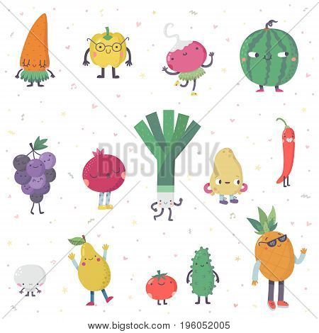 Cute cartoon live fruits and vegetables vector set. Funny characters in nice colors. Part one.