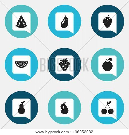Set Of 9 Editable Berry Icons. Includes Symbols Such As Eggplant, Seedless, Morello And More