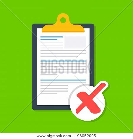 Business document on a clipboard with a cross. The icon of the rejected document. The document is not loaded successfully. Premium quality vector illustration in flat style isolated on red background