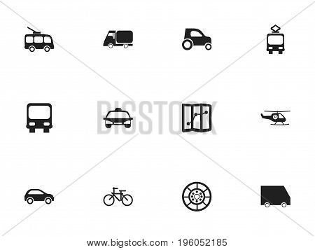 Set Of 12 Editable Transport Icons. Includes Symbols Such As Wheel, Automobile, Omnibus And More