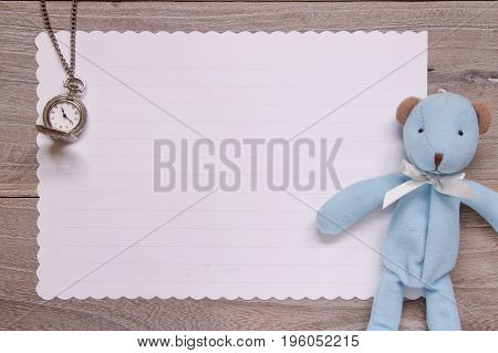 Stock Photography Flat Lay Template Wooden Plank Table White Letter Paper Blue Bear Doll Pocket Cloc