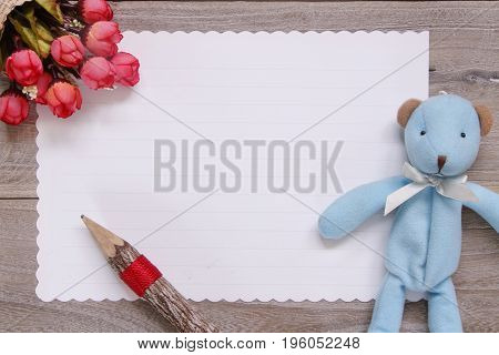 Stock Photography Flat Lay Template Wooden Plank Table White Letter Paper Blue Bear Doll Pencil Rose