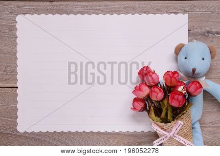 Stock Photography Flat Lay Template Wooden Plank Table White Letter Paper Blue Bear Doll Holding Ros
