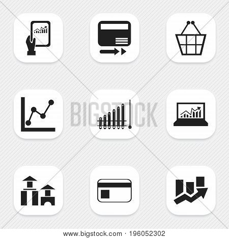 Set Of 9 Editable Analytics Icons. Includes Symbols Such As Report, Bank Payment, Pay Redeem And More