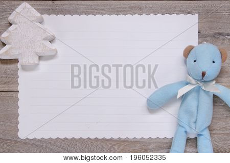 Stock Photography Flat Lay Template Wooden Plank Table White Letter Paper Blue Bear Doll Christmas T