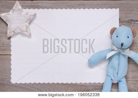 Stock Photography Flat Lay Template Wooden Plank Table White Letter Paper Blue Bear Doll Star Craft
