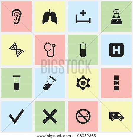 Set Of 16 Editable Care Icons. Includes Symbols Such As Wound Band, No Check, Analysis Container