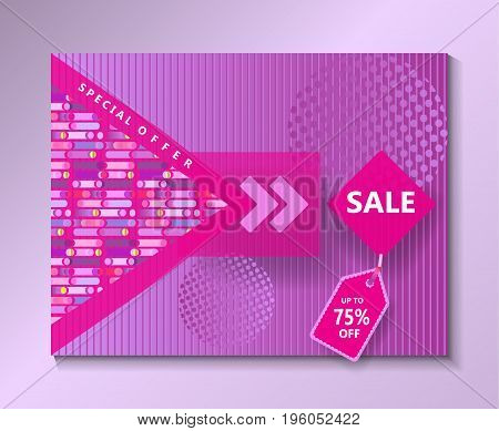 Sale special offer abstract dynamic shapes background. Pop Art, minimalist style graphic design. Pink color gift card Vector illustration.
