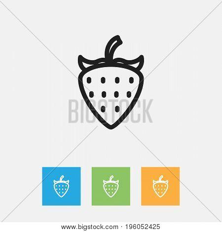 Vector Illustration Of Meal Symbol On Strawberry Outline