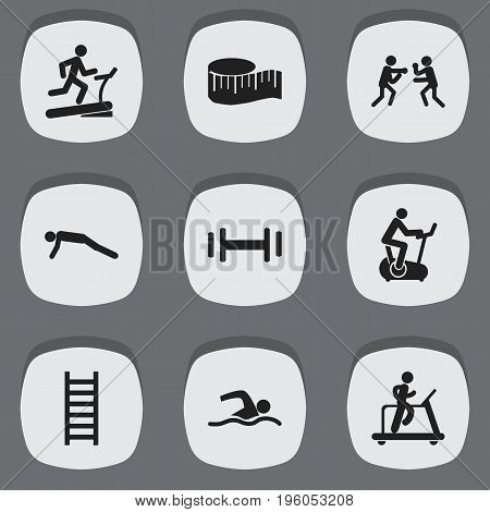 Set Of 9 Editable Lifestyle Icons. Includes Symbols Such As Heft, Training Bicycle, Training Pool And More