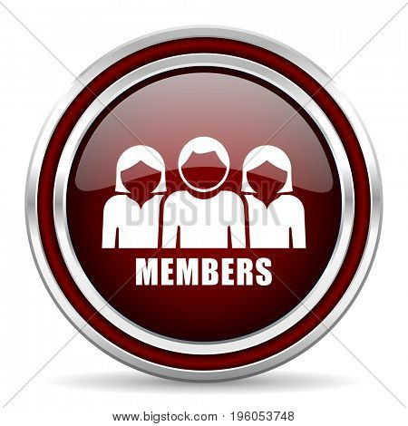 Members red glossy icon. Chrome border round web button. Silver metallic pushbutton.