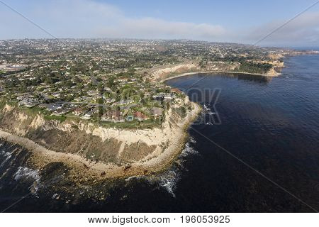 Aerial view of Rancho Palos Verdes and the Pacific Coast in Los Angeles County, California.