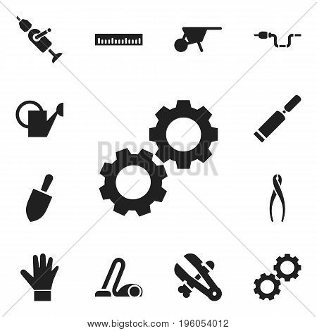 Set Of 12 Editable Equipment Icons. Includes Symbols Such As Pipe, Putty Knife, Sweeper And More