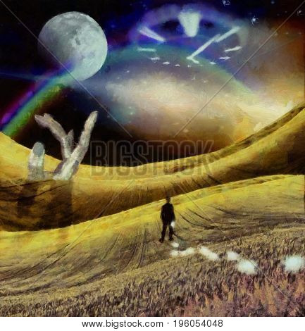 Surreal painting. Man in suit stands on field. Light bulbs symbolizes ideas. Giant hand. Big moon and clock face in the sky.    3d Rendering  Some elements provided courtesy of NASA