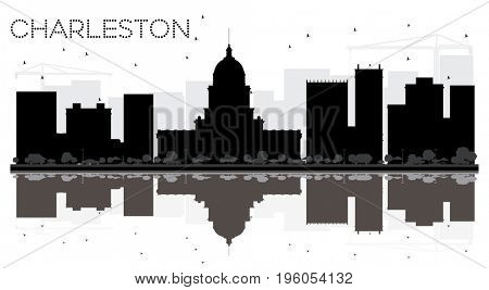 Charleston City skyline black and white silhouette with reflections. Cityscape with landmarks
