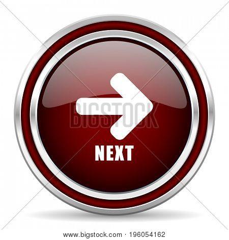 Next text arrow red glossy icon. Chrome border round web button. Silver metallic pushbutton.