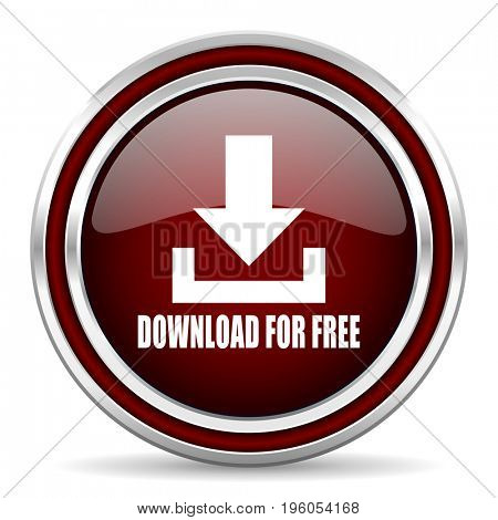 Download for free text red glossy icon. Chrome border round web button. Silver metallic pushbutton.