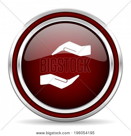 Human care hand red glossy icon. Chrome border round web button. Silver metallic pushbutton.