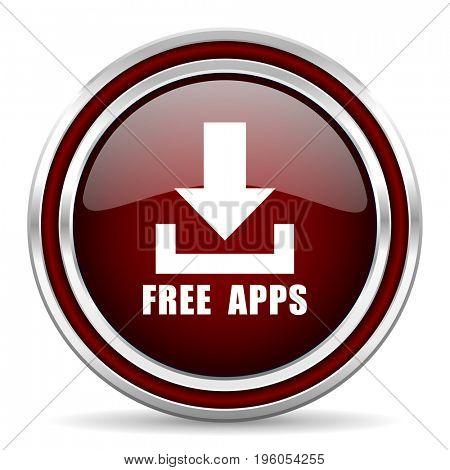 Free apps red glossy icon. Chrome border round web button. Silver metallic pushbutton.