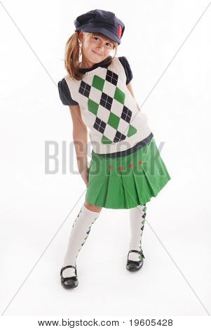 A cute girl wearing a back to school outfit
