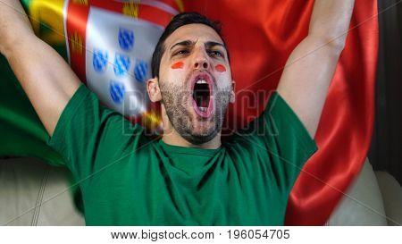 Portuguese Guy Waving Portugal Flag