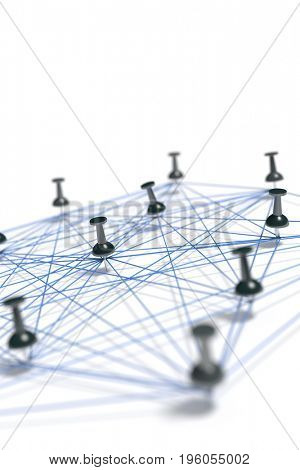 3d rendering of a network with pins