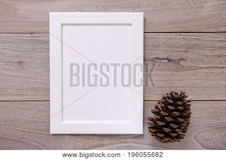 Nature Garden Retro Wood Vintage Table White Frame Mock Up Pinecone