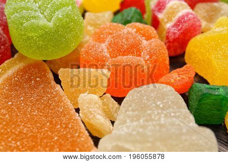 Delicious colorful jelly candies, closeup