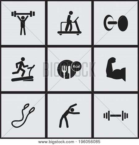 Set Of 9 Editable Sport Icons. Includes Symbols Such As Racetrack Training, Bodybuilding, Exercise And More
