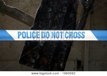 Close Up Of A Line Of British Police Do Not Cross Tape.