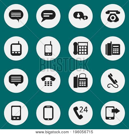 Set Of 16 Editable Gadget Icons. Includes Symbols Such As Tablet, Radio Talkie, Comment And More
