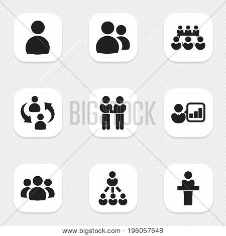 Set Of 9 Editable Business Icons. Includes Symbols Such As Friendship, Introducing, Male And More