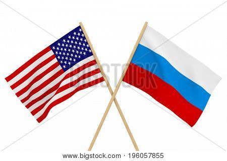flags USA and Russia. Isolated 3D illustration